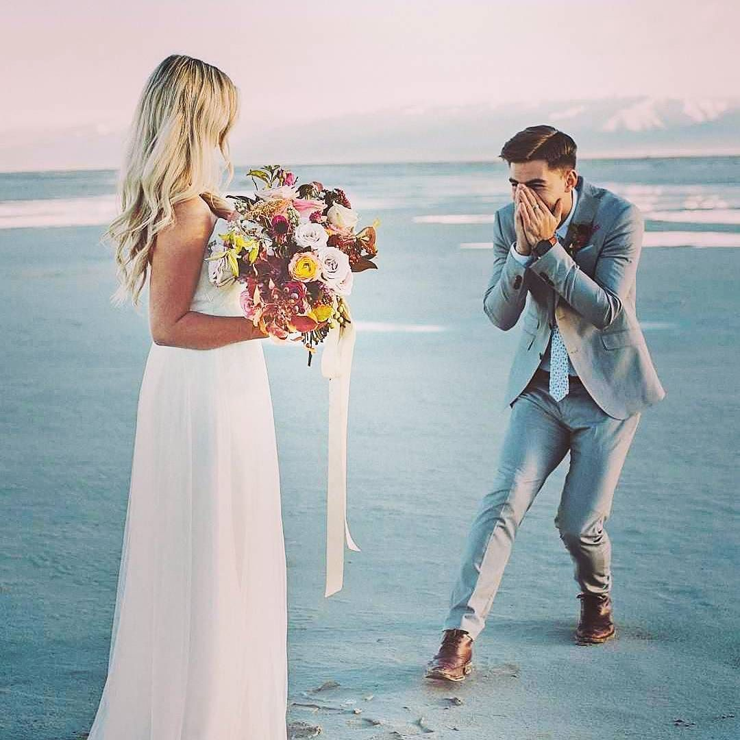 When he sees you in your wedding dress for the first time :) tears ...