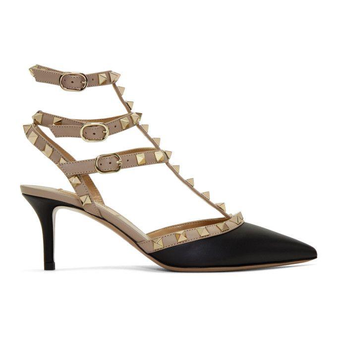 VALENTINO   Black & Pink Valentino Garavani Rockstud Cage Heels #Shoes # Heels #VALENTINO