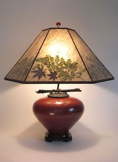 Red Raku Asian Style Lamp Rice Paper Lampshade Diy Lamp Shade