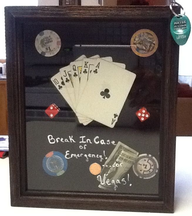 poker money bank for dad made out of shadow box for fathers day personalized with real poker. Black Bedroom Furniture Sets. Home Design Ideas