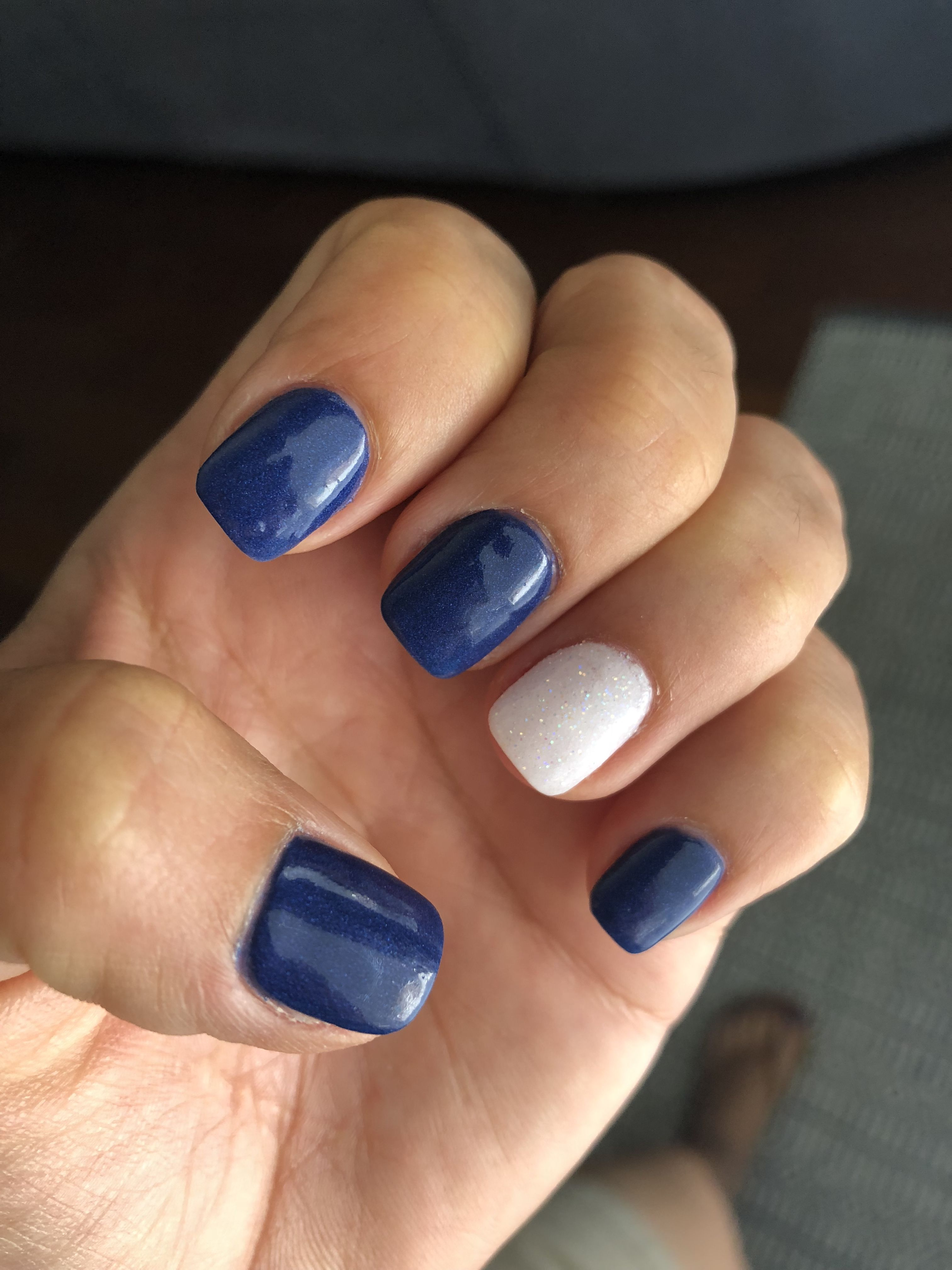 navy blue nails sparkle nail