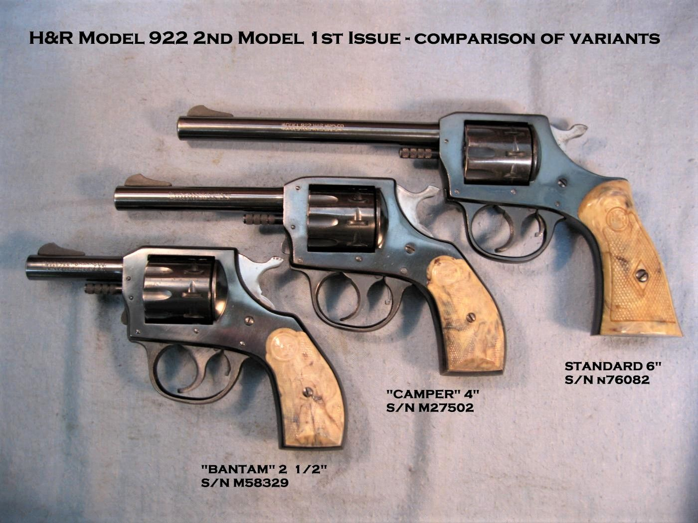 H&R 922 - 9-shot .22 revolver 1st issue variants. Pop-out Cylinder to  Reload.