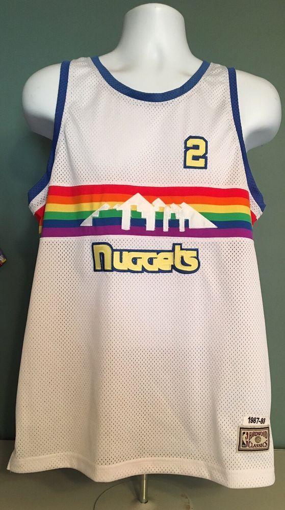Denver Nuggets  2 English 87-88 Sewn Hardwood Classic Basketball Jersey  Large  HardwoodClassics  DenverNuggets 9789dbd94