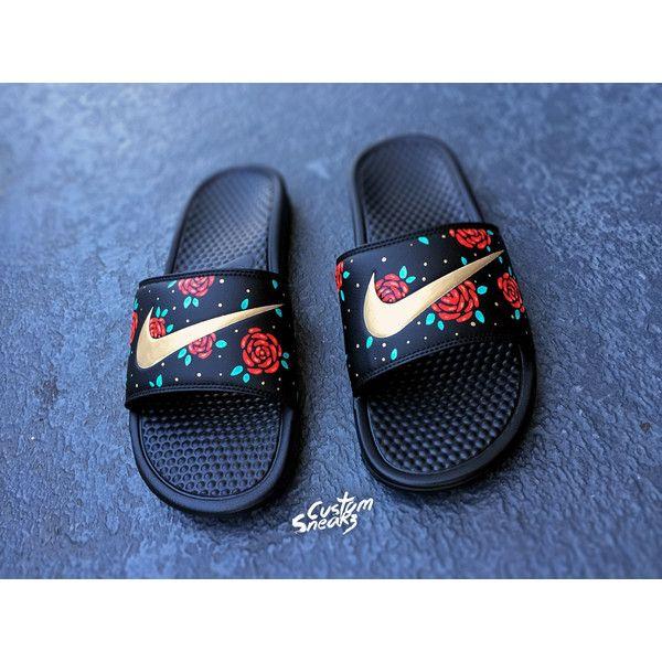 New Womens Nike Custom Benassi JDI Print Slide Customize Sandals Great goddess of flowers White/wathet