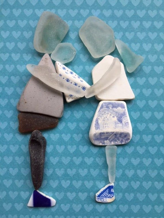 Framed Irish Sea Glass and Sea Pottery pictures ~ wall art ~ Love ~ New Baby Boy Son ~ Parents ~ Godparents ~ Family present