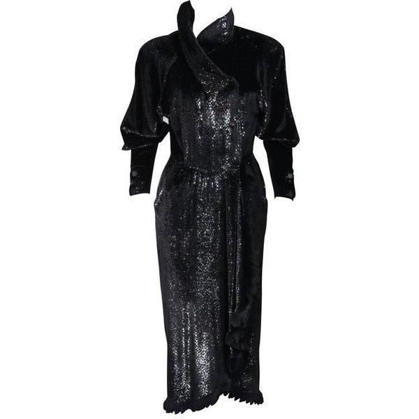 Preowned Fendi 365 Circa 1980's Black Reflective Velvet Texture Wrap... (86,855 DOP) ❤ liked on Polyvore featuring dresses, black, wrap dress, 80s cocktail dress, polish dress, draped wrap dress and velvet wrap dress
