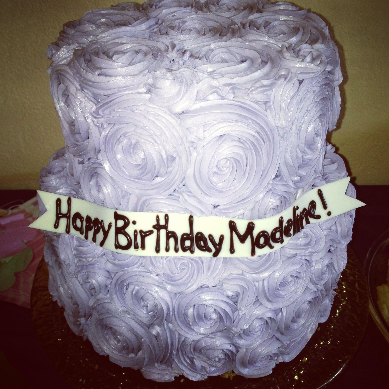 Purple Rosette Birthday Cake Vanilla Cake Strawberry And Whipped