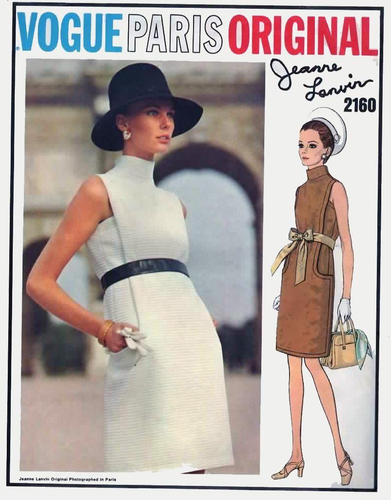 1960s Jeanne Lanvin A-Line Dress and overdress VOGUE Paris ORIGINAL ...