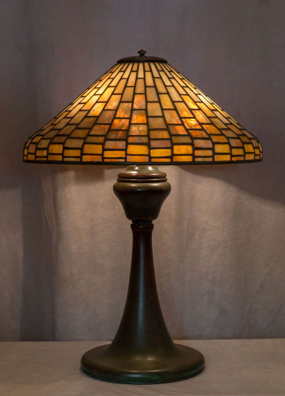 Signed Tiffany Studios Leaded Gl Geometric Table Lamp Arts And Crafts 1905 Usa