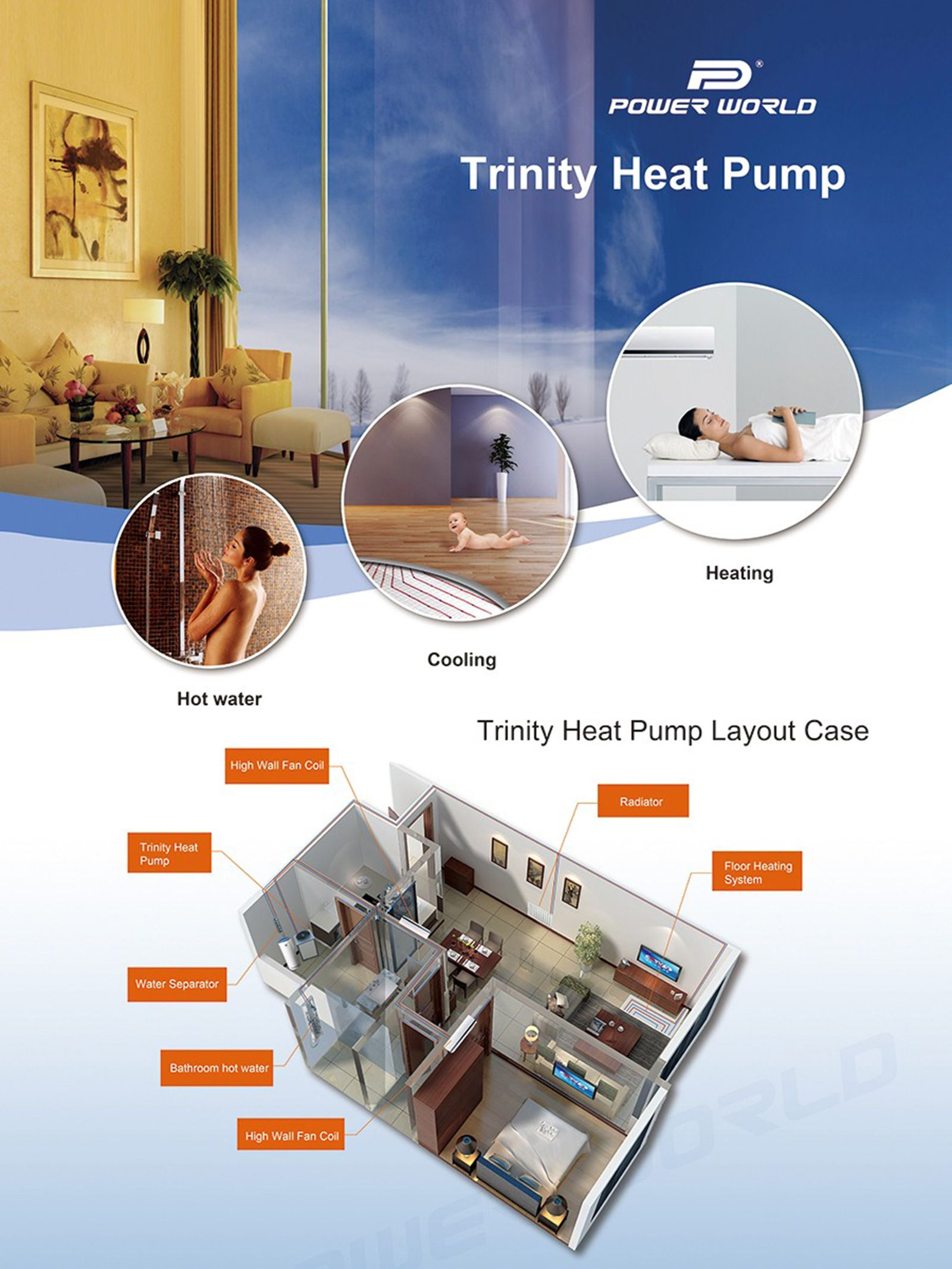Power World Dc Inverter Heat Pump Integrates Room Heating Cooling And Domestic Hot Water Into Floor Heating Systems Domestic Hot Water Heat Pump Water Heater
