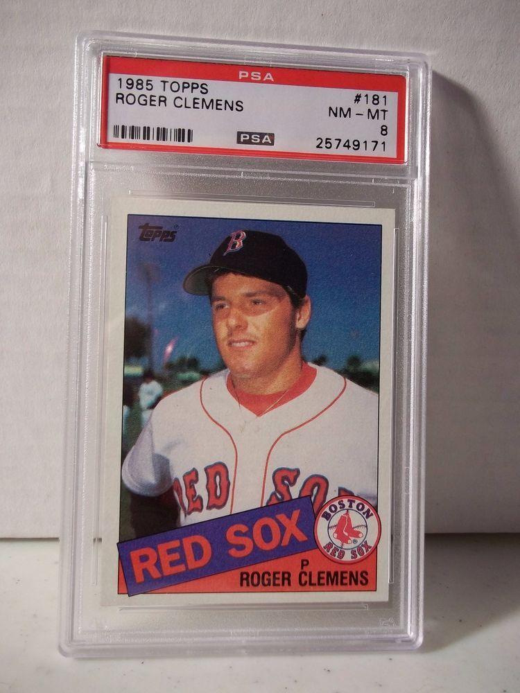 1985 Topps Roger Clemens Rc Psa Nm Mt 8 Baseball Card 181 Mlb Collectible Bostonredsox Baseball Cards Baseball Trading Cards Roger Clemens