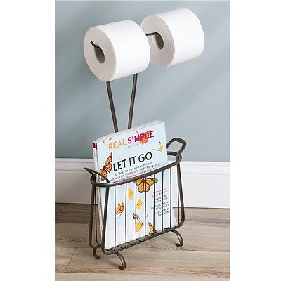 bad08a44d1bb39 Toilet Tissue Paper Holder 2 Roll Storage Magazine Rack Stand Organizer  Bathroom