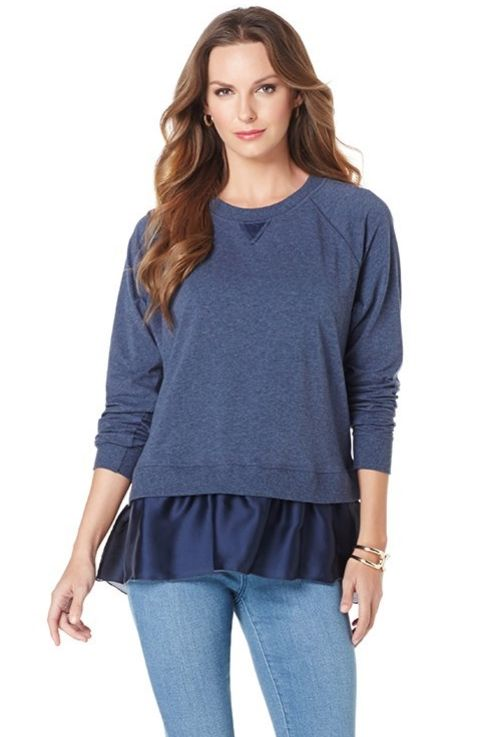 Add a girly touch to your spring sweater look with a ruffled Hi-Low Sweater.