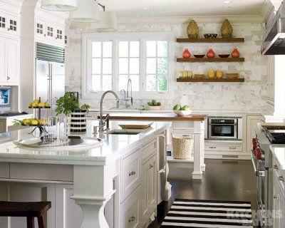 Kitchen #white #kitchen #marble #double #island