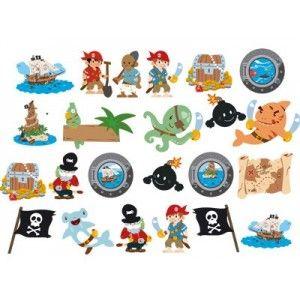 planche de 23 stickers pirates pirate salles de jeux et rouleaux. Black Bedroom Furniture Sets. Home Design Ideas