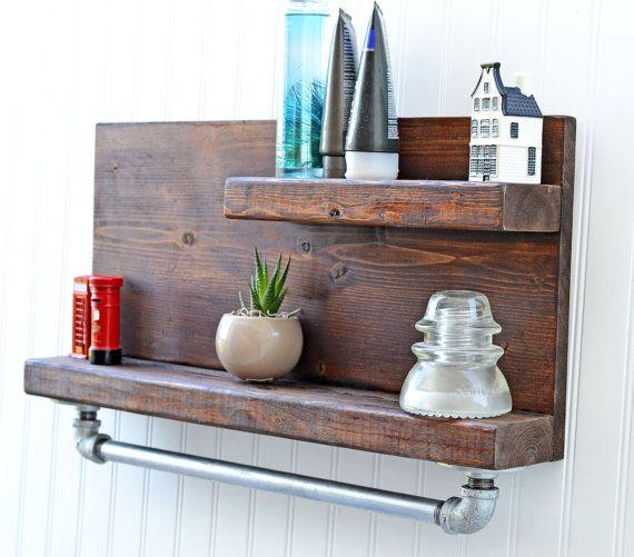 Rustic Design Shelf with Iron Pipe Towel Rack, Bathroom Shelf ...