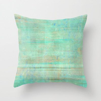 Green Throw Pillow Cover Seafoam Green Mint Brown White Abstract