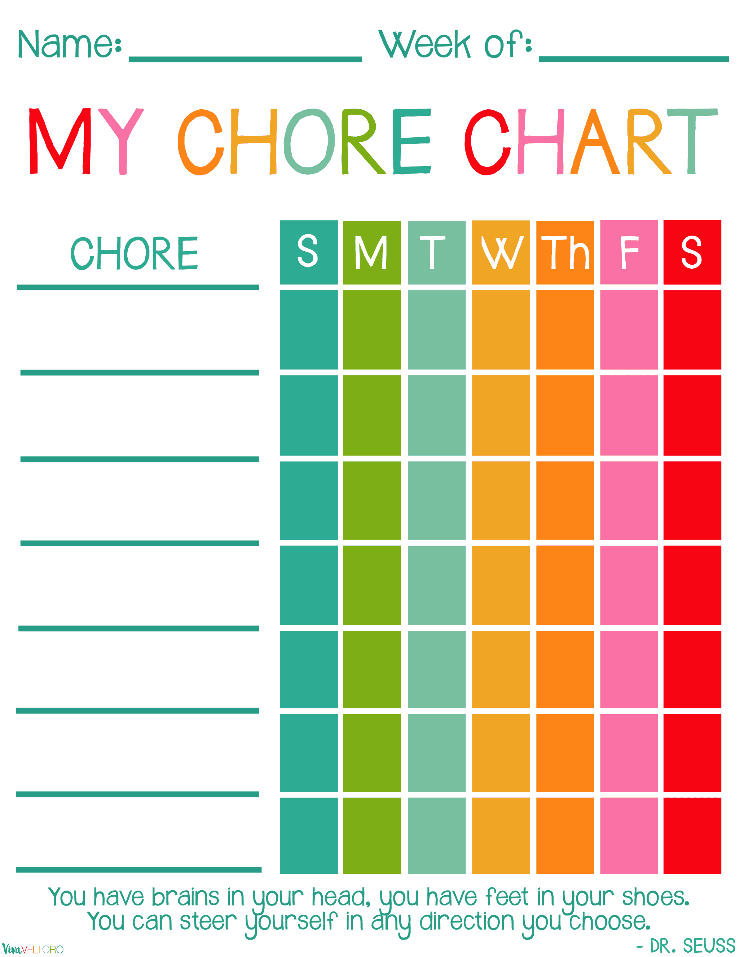Chore Chart With Quote 2 550 3 299 Pixels