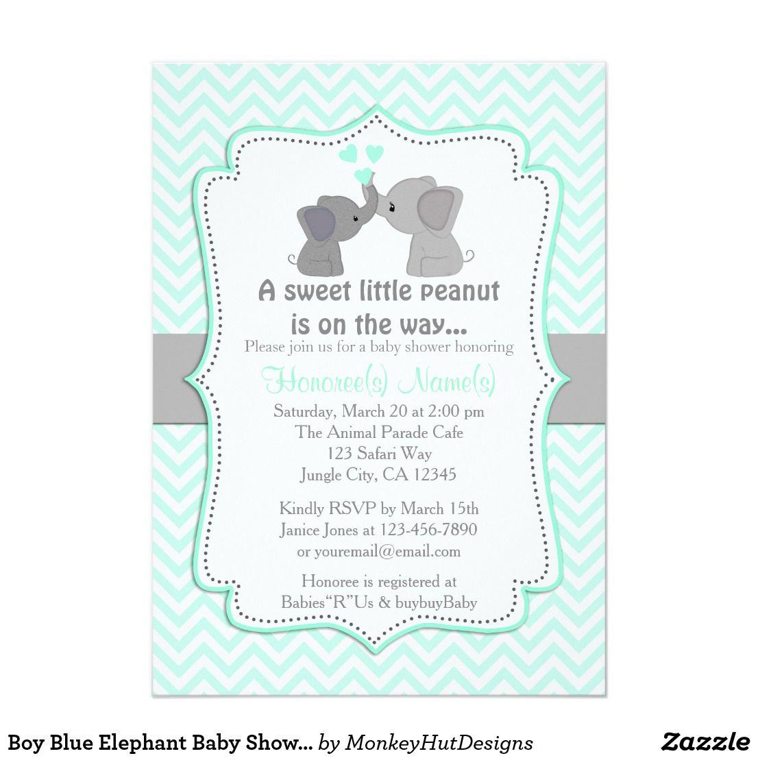 Boy Blue Elephant Baby Shower Invitations Chev 330 | Baby shower ...