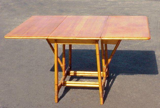 Charmant HEYWOOD WAKEFIELD DROP LEAF TABLE: Maple Table With Bamboo Style Legs,  Swing Supports