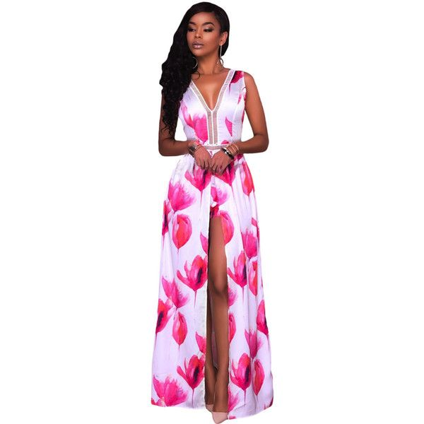 Rosy White Flowers Print Backless Short Jumpsuit with Maxi Overlay ...