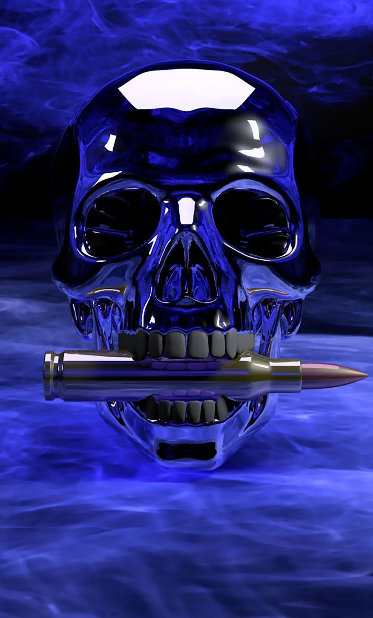 Bullet, skull, digital art, 1280x2120 wallpaper Skull