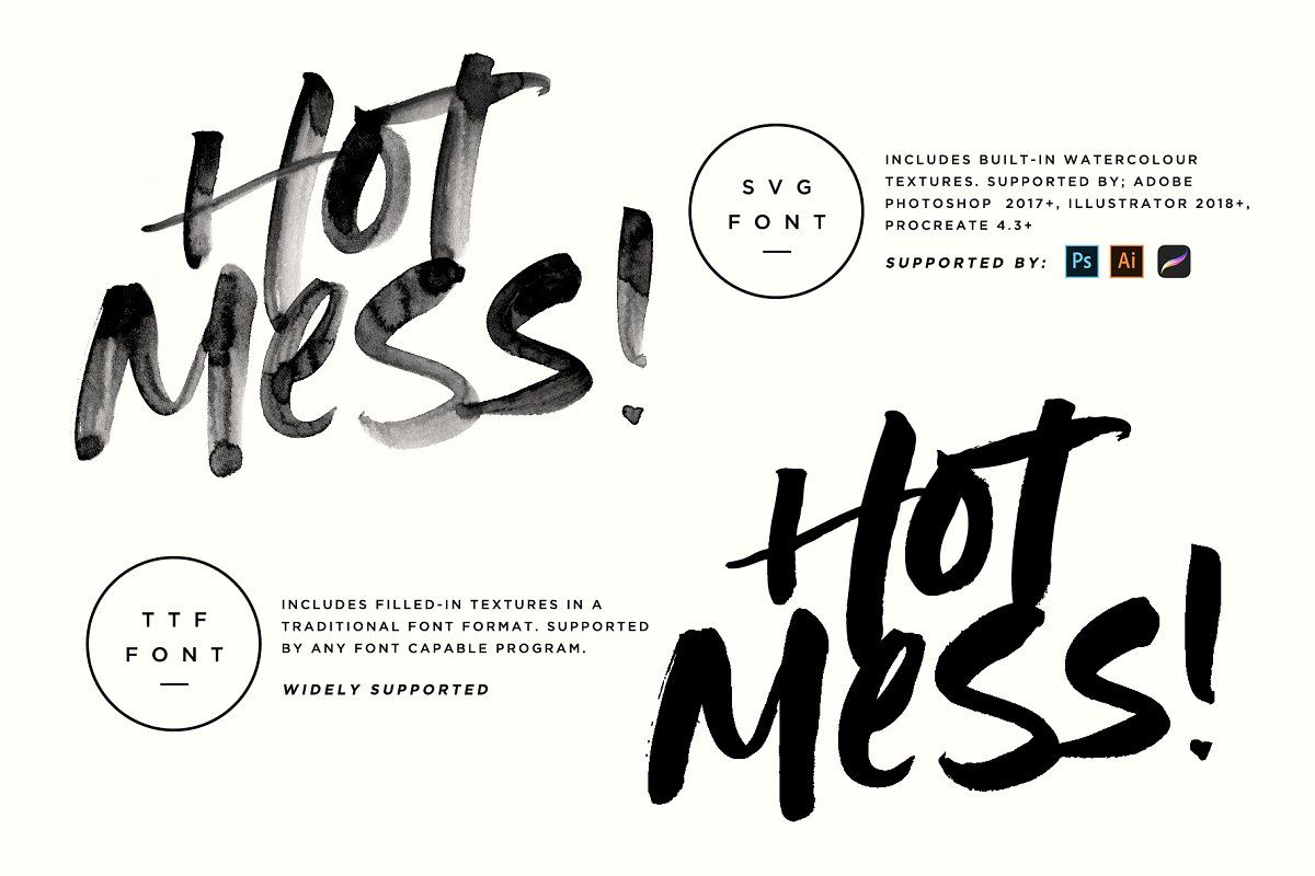 Ad Hot Mess Svg Font By Sam Parrett On Creativemarket Opentype Svg Fonts Are Now Supported By Procreate 4 3 Photoshop Fonts How To Draw Hands Rough Hands