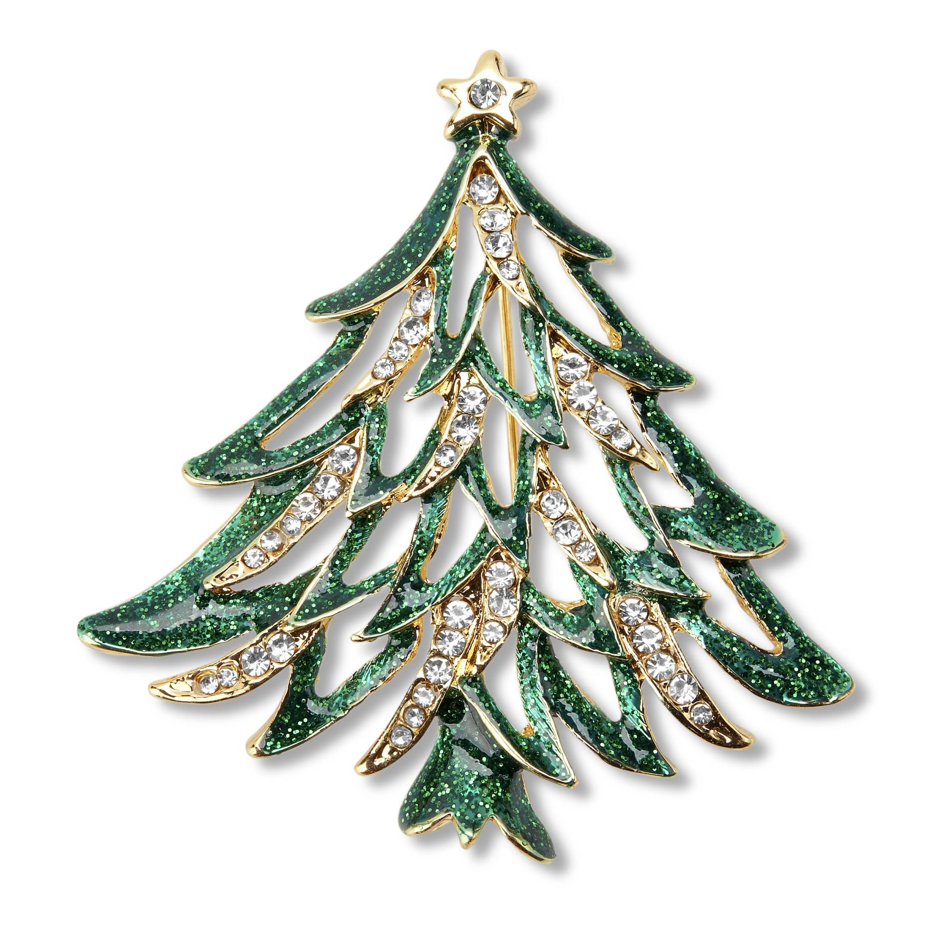Holiday Editions Women S Christmas Tree Pin Brooch Green Glitter Enamel Open Boughs Tiny Rhinest Jewelry Christmas Tree Jeweled Christmas Christmas Jewelry