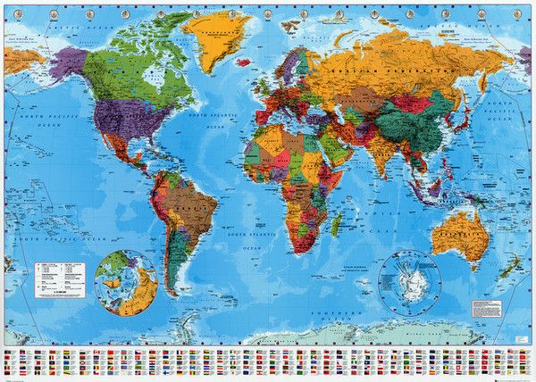 Political world map with flags education poster 24x36 flags and political world map with nation flags geography education poster 24x36 bananaroad gumiabroncs Choice Image