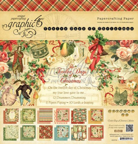 Graphic 45 12 Days of Christmas  8 x 8 Paper Pad by CreationsToGo