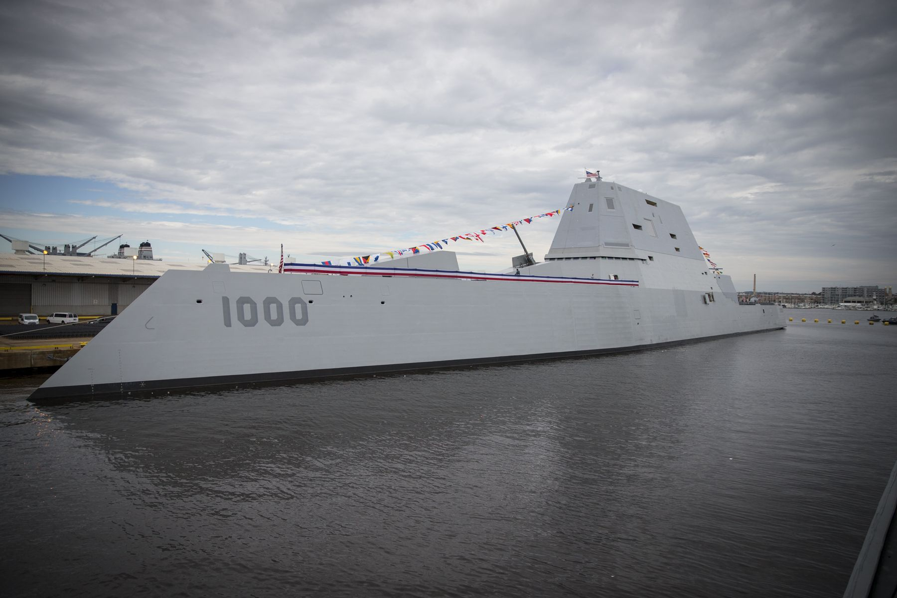 BALTIMORE (Oct. 13, 2016) The future Zumwalt-class guided-missile destroyer USS Zumwalt (DDG 1000) is pierside at Canton Port Services in preparation for its upcoming commissioning on Oct. 15, 2016. Zumwalt is named for former Chief of Naval Operations Elmo R. Zumwalt and is the first in a three-ship class of the Navy's newest, most technologically advanced multi-mission guided-missile destroyers. (U.S. Navy photo by Petty Officer 2nd Class George M. Bell/Released)
