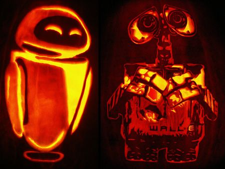 wall-e pumpkin template  Wall-E and Eve Pumpkin and other amazing pumpkin carvings ...