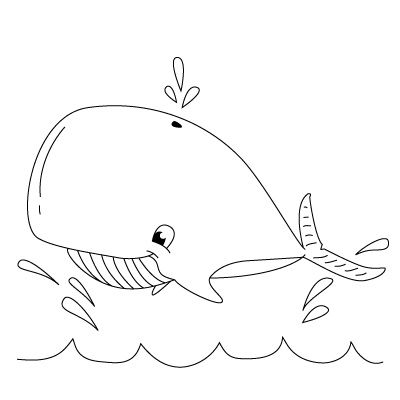 how to draw a whale- sep by step instructions easy enough