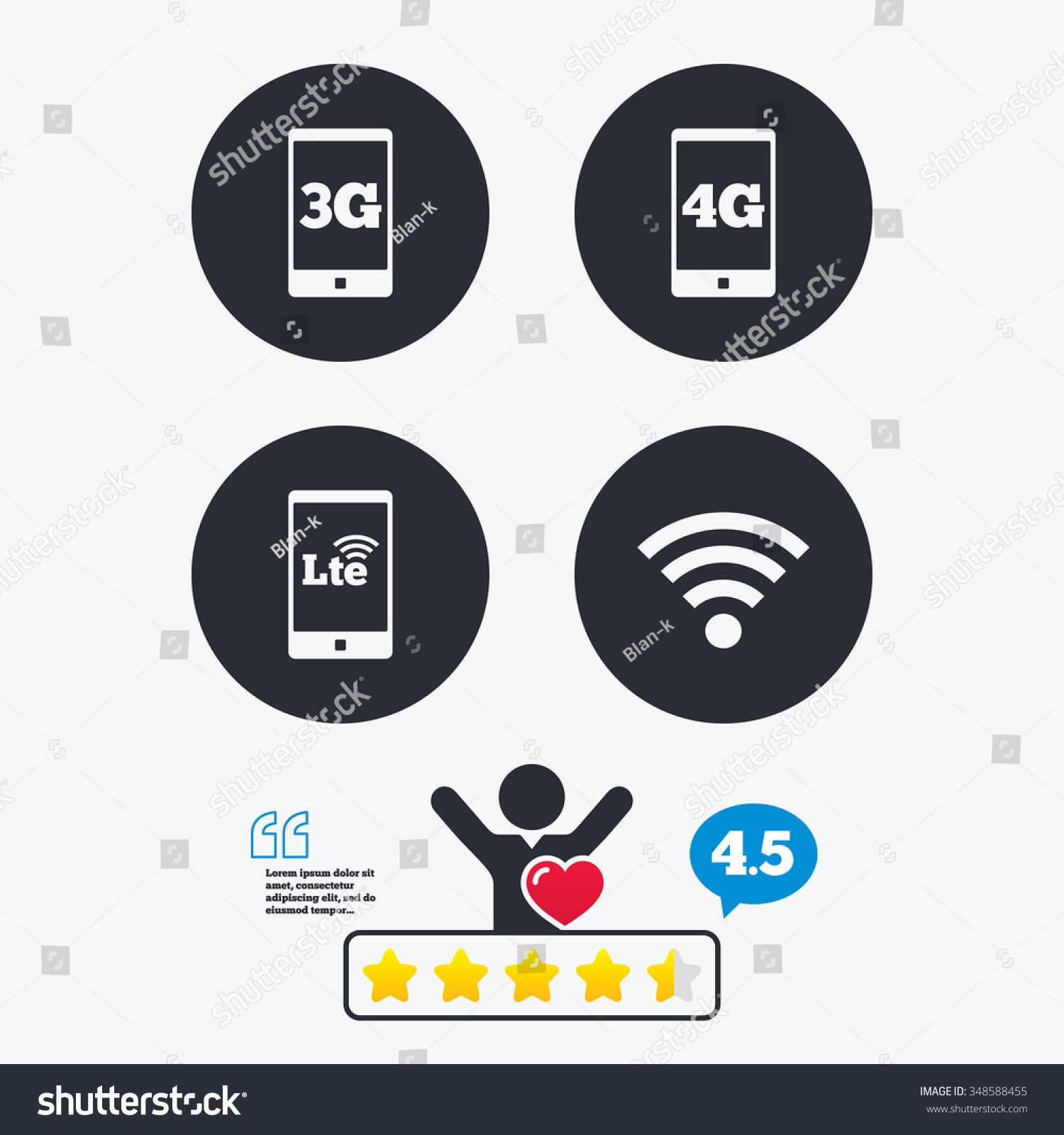 Mobile Telecommunications Icons 3g 4g And Lte Technology Symbols Wi Fi Wireless And Long Term Evolution Signs Star Vot Ad In 2020 Psd Templates Templates Symbols