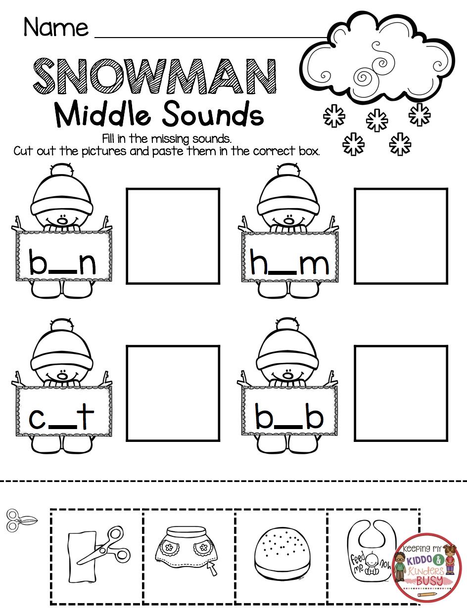 January No Prep Math Literacy Pack Freebies Keeping My Kiddo Busy Middle Sounds Kindergarten Middle Sounds Phonics Kindergarten [ 1230 x 944 Pixel ]