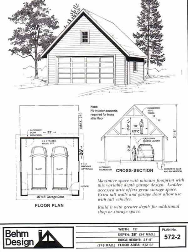 Two Car Garage With Attic Truss Roof Plan 572 2 22 39 X 26