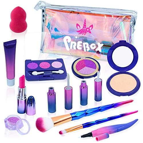 Prebox Kids Pretend Play Makeup Set For Girls Toddlers Unicorn Collection Toy Make Up Kit For Girls Age 2 3 4 5 6 Yea In 2020 Kids Pretend Play Play Makeup Makeup Kit