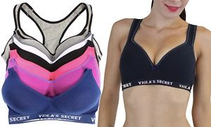 4d5c986f2baad Groupon - 6-Pack of Women s Padded Racerback Sports Bras in  missing    location   value . Groupon deal price   29.99