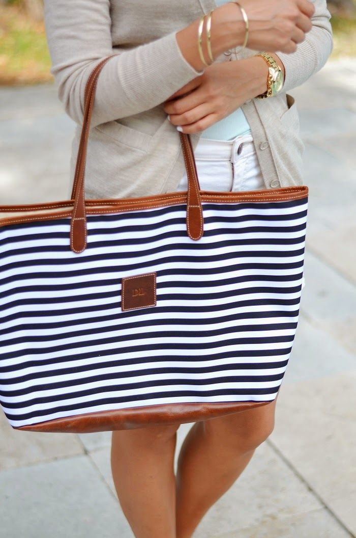 navy white stripe and leather tote