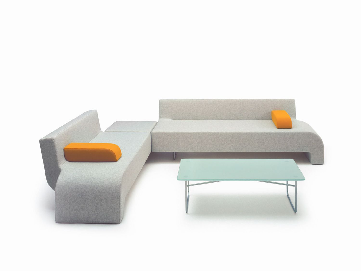 30 grey and orange corner reception sofa | Trading Floor Refurb ...