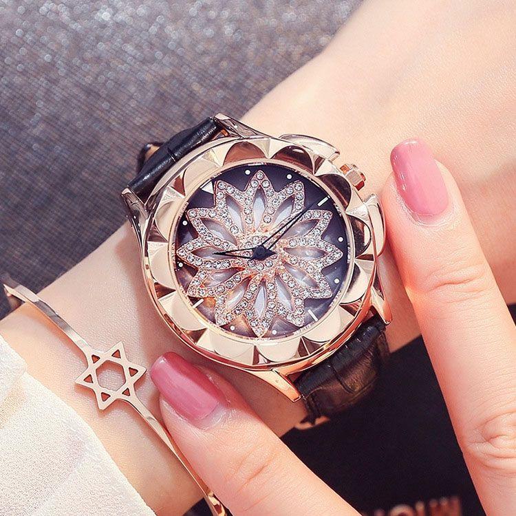 98986ad84fe46 Women Watches ladies Fashion Rhinestone Diamond Dress Watch High Quality Luxury  Wristwatch Rotate the dial hot sale Girl watch good gift