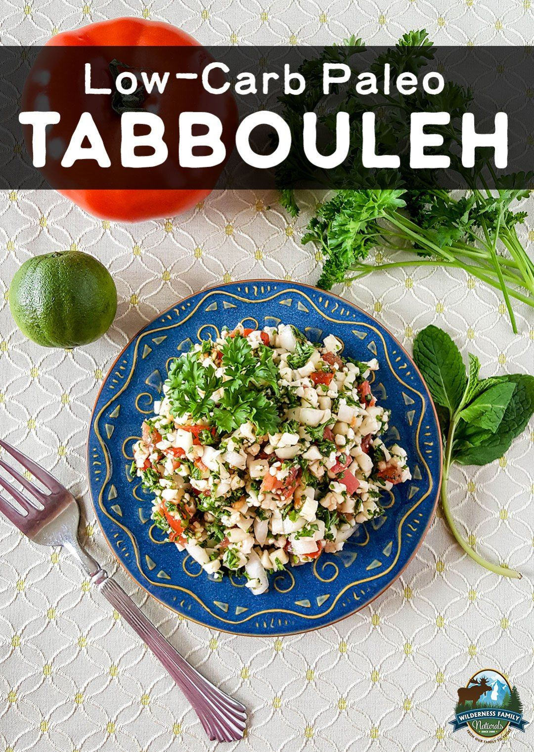 Low-Carb Paleo Tabbouleh | In this twist on traditional Tabbouleh, riced cauliflower stands in for bulgur wheat. This Low-Carb Paleo Tabbouleh is a crowd-pleasing dish for potlucks, parties, and barbecues. It's also grain-free, gluten-free, dairy-free, egg-free, and nut-free!