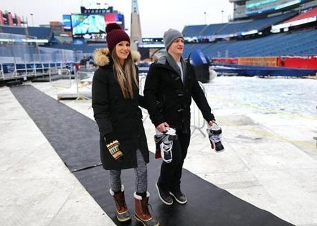 Bruins Defenseman Torey Krug And His Wife Melanie Arrive At Gillette Stadium The Boston Bruins Gillette Stadium Boston Sports Boston Bruins Players
