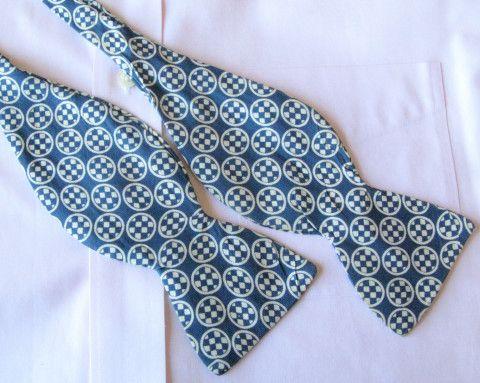 Blue Bowtie, Self Tie Geometric Pattern, Vintage Adjustable Bow Tie