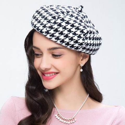 e0f826c94d4 Black and white houndstooth beret hat for women winter wool felt hats