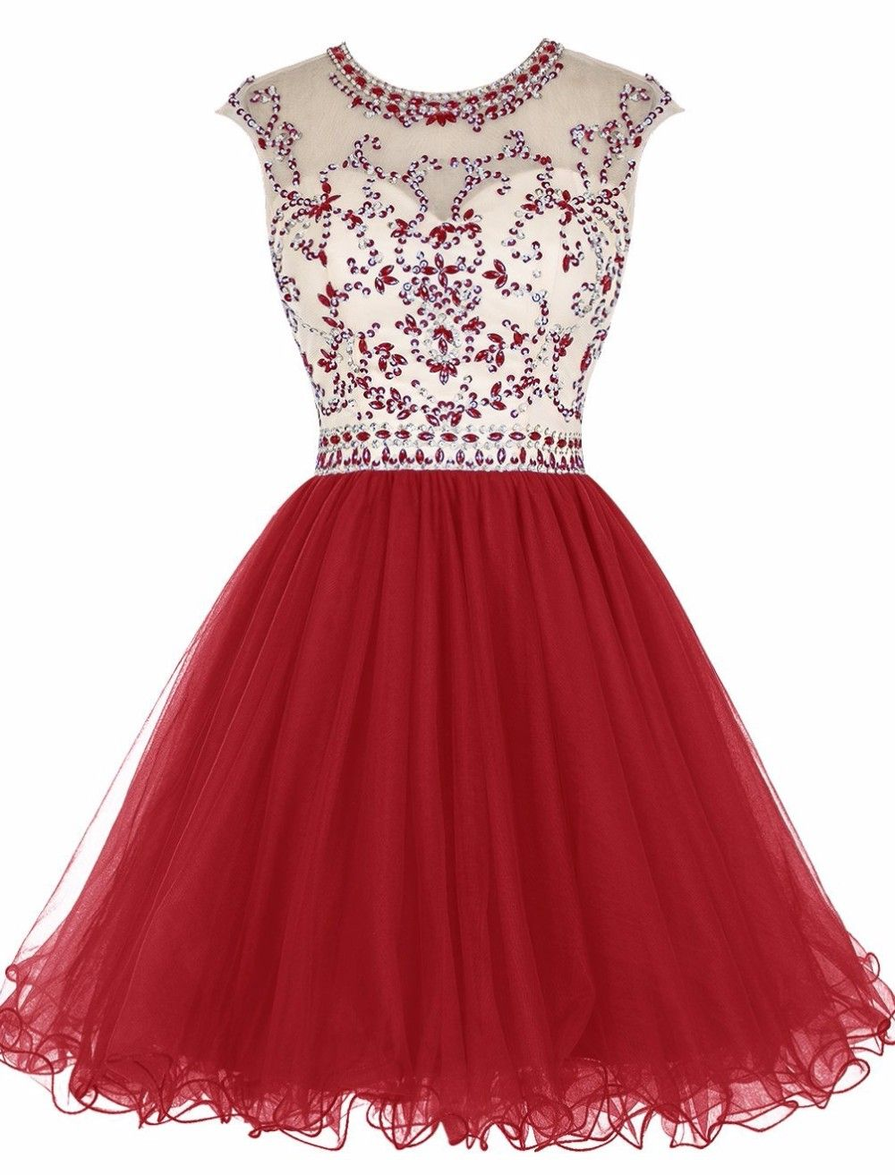 Open back red aline short sleeveless sparkly beaded backless prom