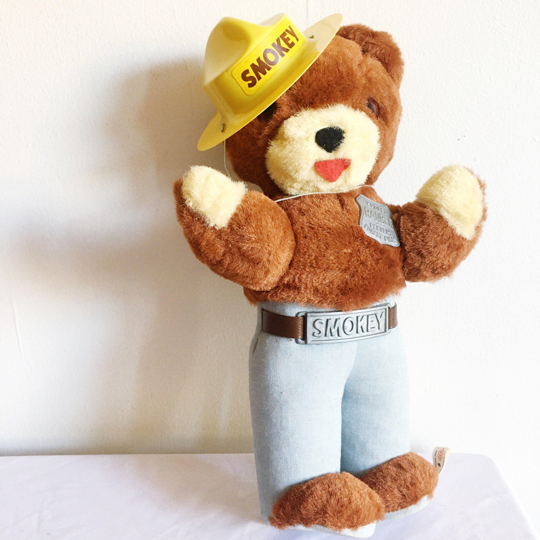 Vintage Toy 1960s Smokey The Bear Stuffed Animal With Hat Etsy Bear Stuffed Animal Smokey The Bears Vintage Toys 1960s