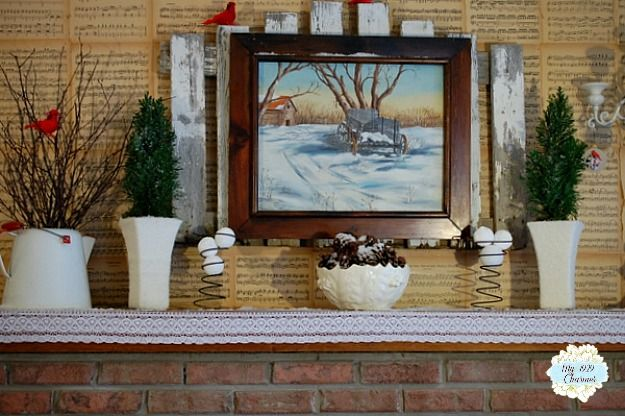 My 1929 Charmer | A Very Simple Winter Mantel | http://my1929charmer.com