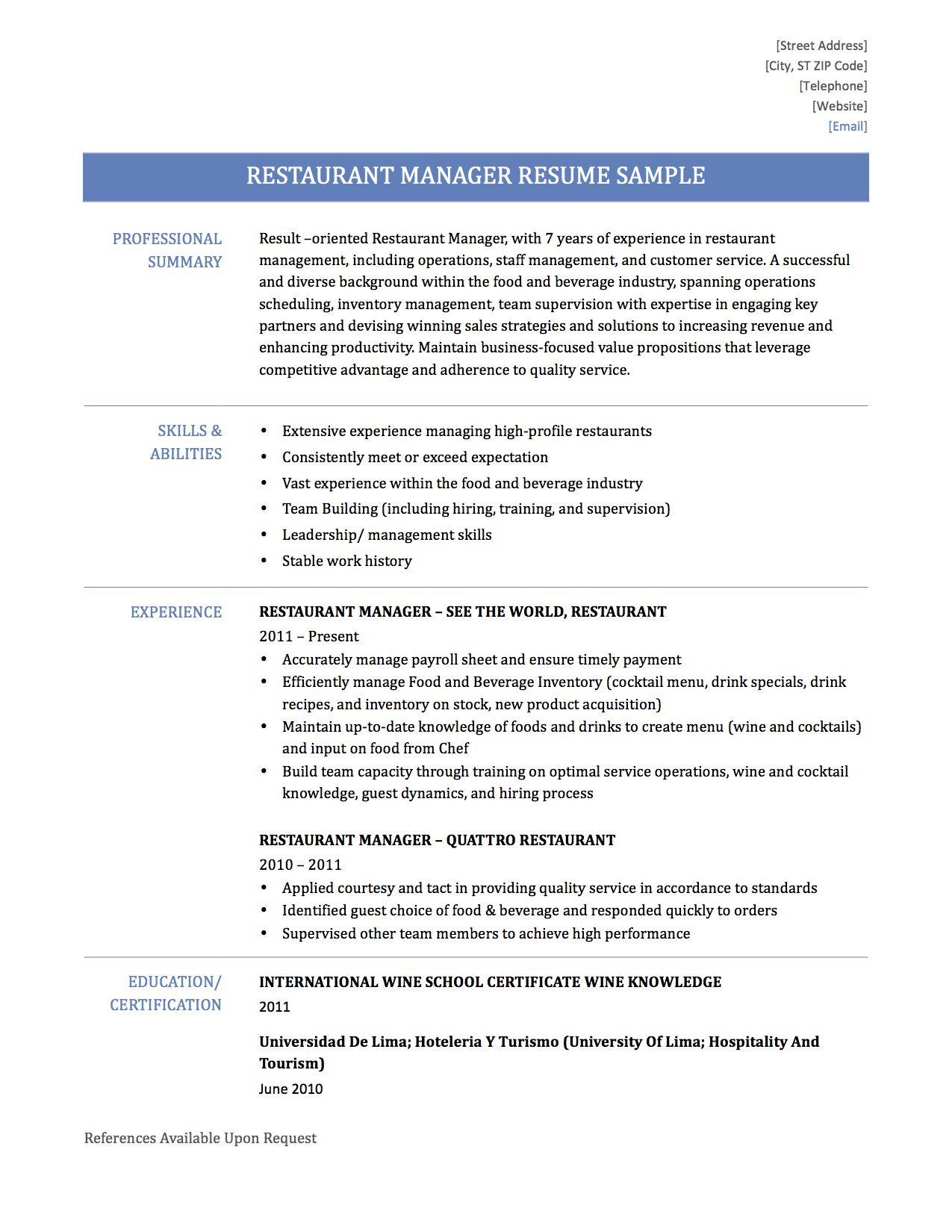 Resume Objectives For Restaurant Project Management