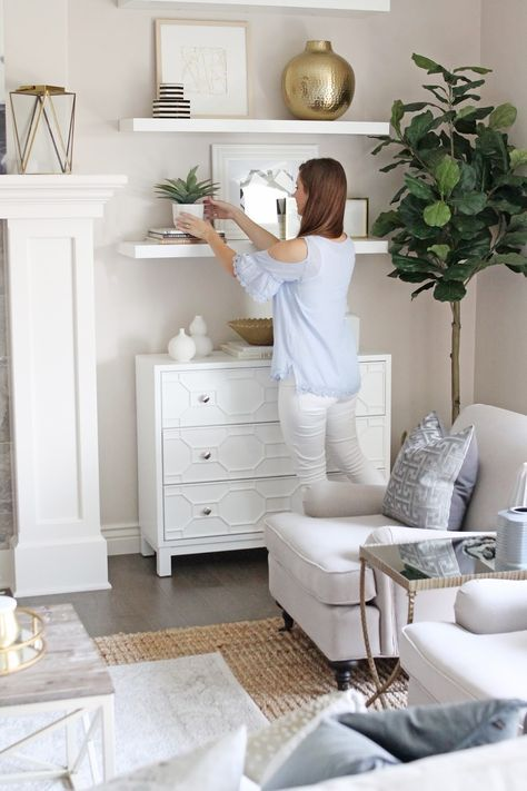Living Room Reveal {How to Fake Built-In Shelving}
